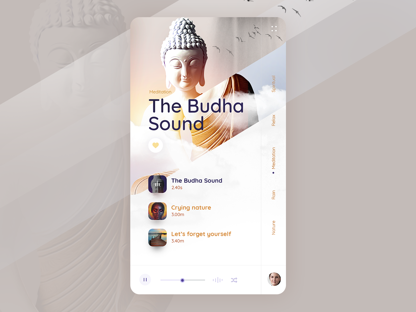 Meditation Music Playlist UI music poster meditationapp meditationui songsui musicappdesigner music player musicapp music player ui animation freebie app appdesigner app designer uxuidesigner freelance designer clean design