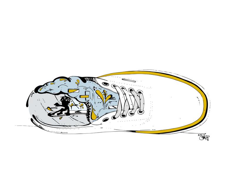Stylin' skate board vecor logo hand drawn branding swag graphic  design graphic art vector street art skate surf art surf illustration design