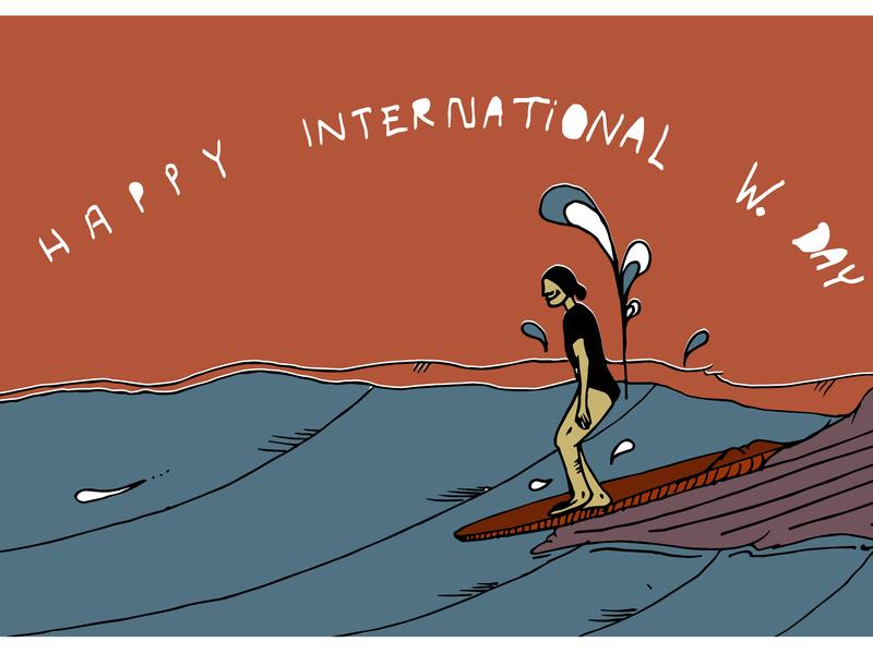 Happy International Woman's Day hand drawn branding graphic  design graphic art vector surf art surf illustration design internationalwomensday