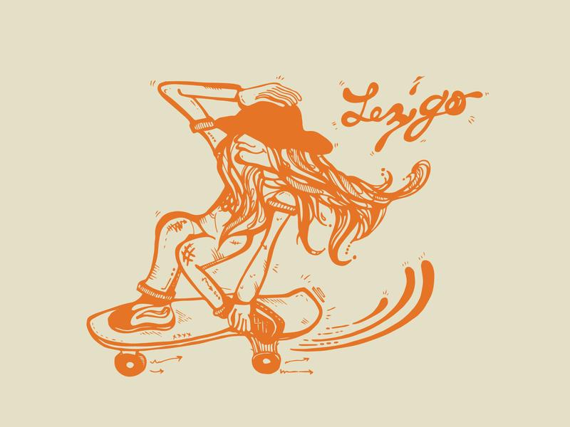 Lez Go... Happy Pride Month pride month skate deck skate board hand drawn skate graphic  design graphic art street art vector surf surf art illustration design