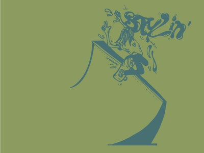Stylin' in the 90s skate shop 90s skate deck logo skate board branding swag hand drawn skate graphic  design graphic art street art vector surf surf art illustration design