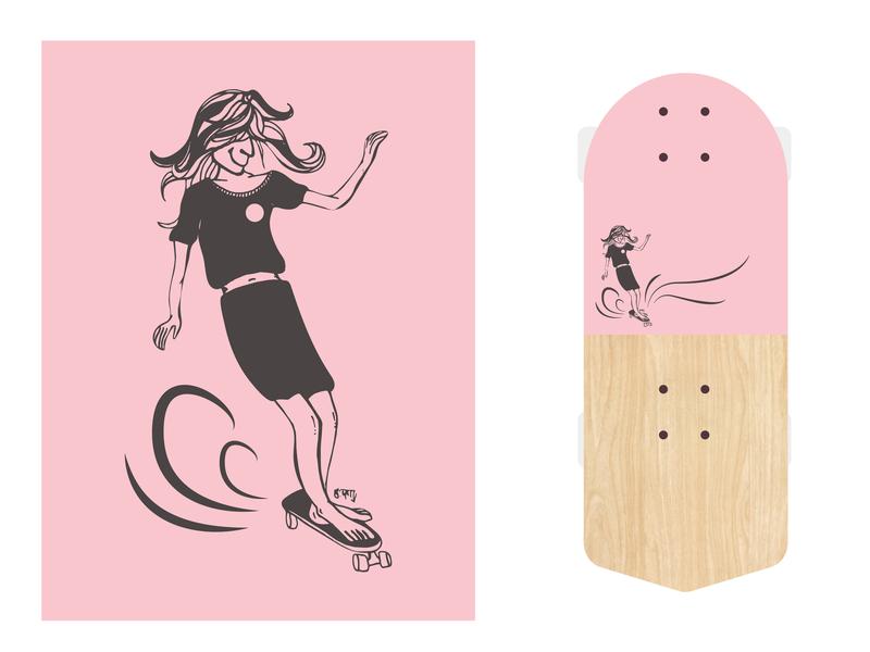 Girl in the Swirl skate or die skate shop 90s skate deck logo skate board branding hand drawn skate graphic  design graphic art street art vector surf surf art illustration design