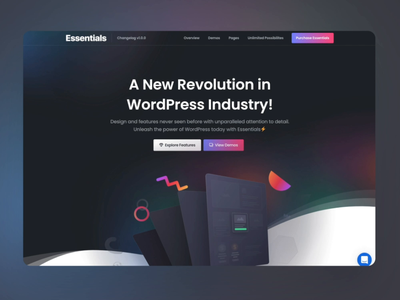 Introducing Essentials WordPress Theme 🥳 video sketch lottie elementor creative corporate 3d landing page homepage theme wordpress theme ui website builder themeforest web design page builder envato illustration design