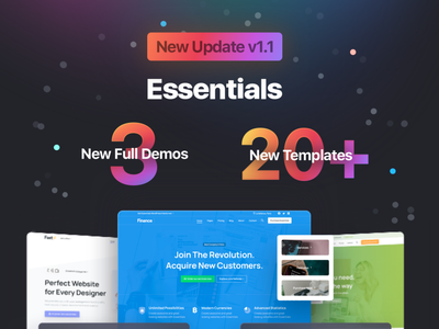 Essentials Version 1.1 branding illustration multipurpose website builder sketch elementor page builder web design design envato themeforest