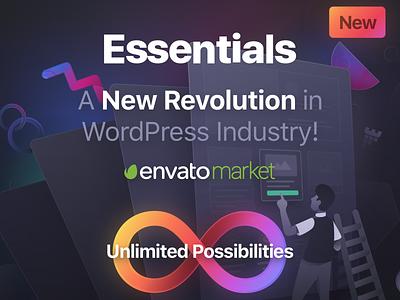 Essentials Unlimited Possibilities website builder branding illustration design ui pixfort landing page web design envato themeforest