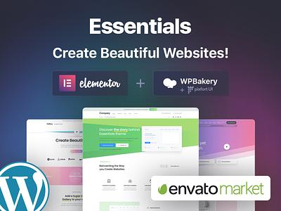 Create Beautiful Websites with Essentials sketch wordpress ui illustration prot graphic design website builder design web design pixfort envato themeforest