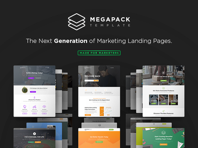 Introducing MEGAPACK Template landing page themeforest template html builder design mockup page builder