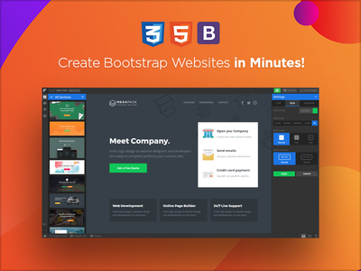 Create Bootstrap Websites in Minutes! themeforest website builder html landing page envato builder pixfort web design