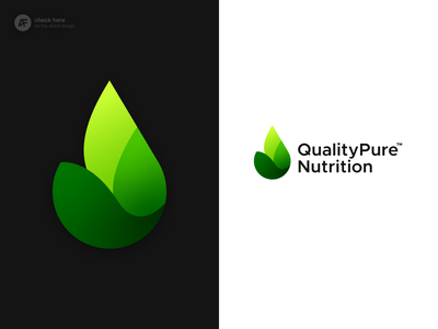 Quality Pure Nutrition Logo - Approved Concept nutrition whey protein green leaves leaf pure water drop gradient modern icons pictorial mark design brand logocollection branding brand and identity brand identity logo