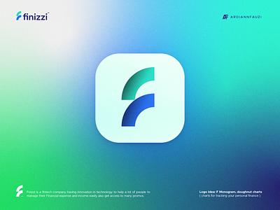 Finizzi Logo Design startup finance logo brand icon branding mark monogram symbol logo design personal finance budget tracker pie chart doughnut charts chart f monogram ios app brand identity fintech