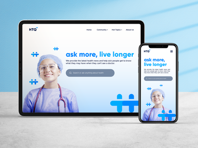 Health Top Questions Home Page Design brand brand guideline logo brand and identity branding brand identity ui landing page home page graphic design web page web design health healthcare app doctor app startup health app icon h logo community search bar