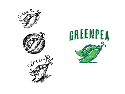 Green Pea vector sketch idea restaurant type art mockup design logo illustration pea green