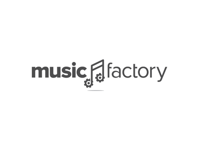 Music Factory tune gears factory music note white grey concept logo