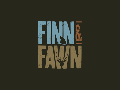 F & F typography concept idea fin shark stag fawn type graphic apparel mark logo