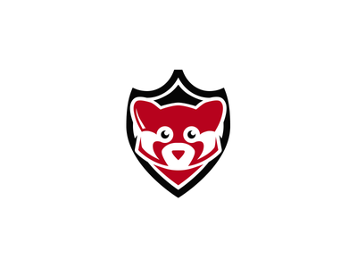 Red Panda mark icon graphic design animal vector shield logo black systems security panda red