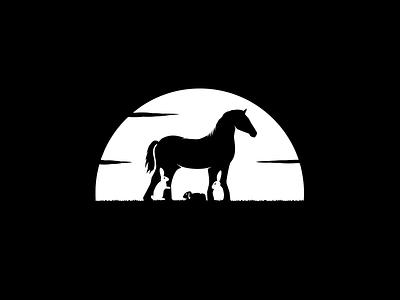 Horse & Rabbits custom sale art badge graphic creative silhouette strong white black park farm negativespace logo rabbits horse