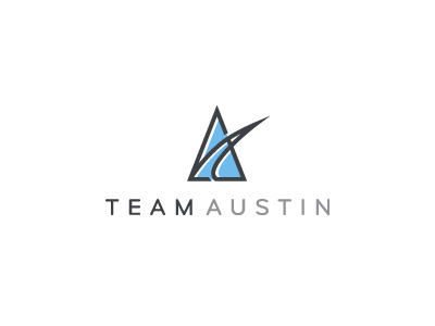 Team Austin team logo design blue charcoal a dynamic sharp family offset mark