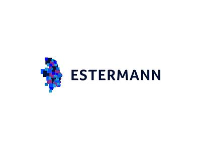 Estermann concept vector pixel mark icon branding identity head brand blue