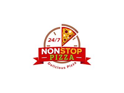 Non Stop Pizza ribbon fast design identity nonstop time clock graphic vector fresh pizza