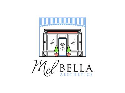 MelBella illustration vector lineart line design script logo bright shop monogram aesthetics name