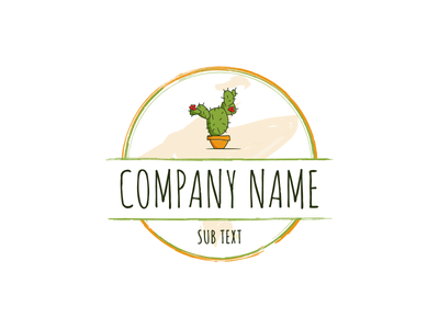 Prickly Pear Studios orange green badge logo vectorart vector illustration art design studio cactus pear prickly