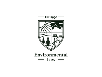 Enviornmental Law journal crest shield design water wind attorney review fir energy mountains sun logo law environmental environment