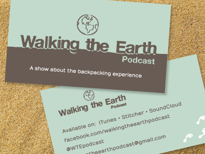 Walking The Earth  walking earth green brown business card design