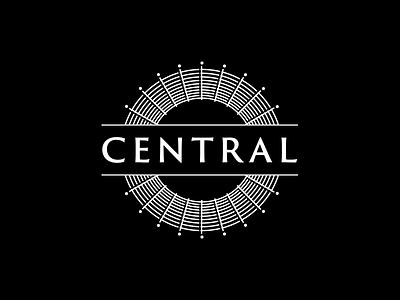 Central lounge bar resturant idea central type clean white black logo