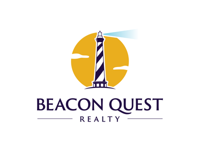 Beacon Quest Realty graphic sun purple logo design quest home realty guide lighthouse beacon