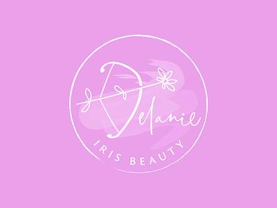 Delanie Iris Beauty watermark iris salon texture flower arrow bow pink nails beauty logo