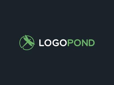 Logopond mark icon lily dragonfly green design pond logo logopond