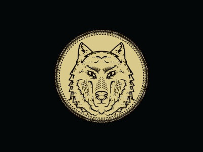 Wolf logo illustration gold black brand clothing stitch dark wolf