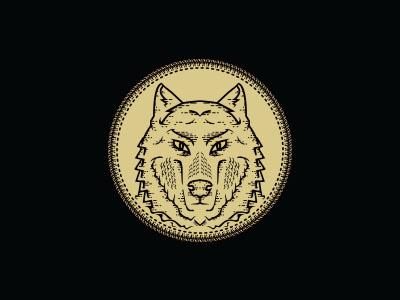Wolf logo illustration gold black brand clothing stitch dark wolf