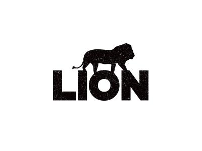 Lion silhouette type white black concept logo monochrome lion