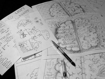 Brain hemisphere ideas hemisphere brain right left ink pen sketch ideas concept