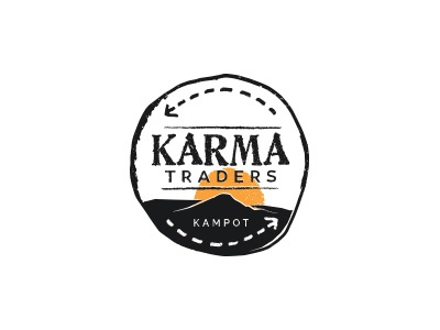 Karma Traders logo sketch cambodia stamp design trade karma