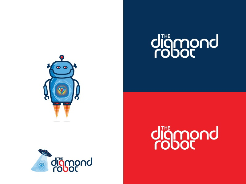 The Diamond Robot iconic character typography red blue design branding logo diamond robot