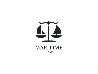 Maritime Law boat sail lawyer scales logo mark love