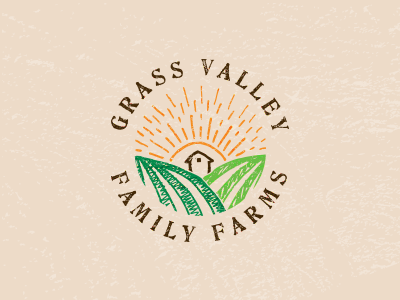 Grass Valley Family Farms type hand-drawn logo burlap green farm valley grass