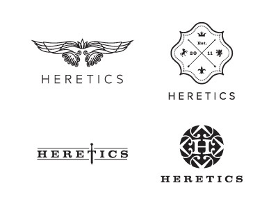 Heretics logo concepts sword heretic strong male fashion clothing brand mark iconic logo king pattern bird