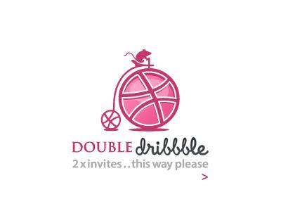 Dribbble Invites dribbble invite double mouse wheel ball move logo graphic