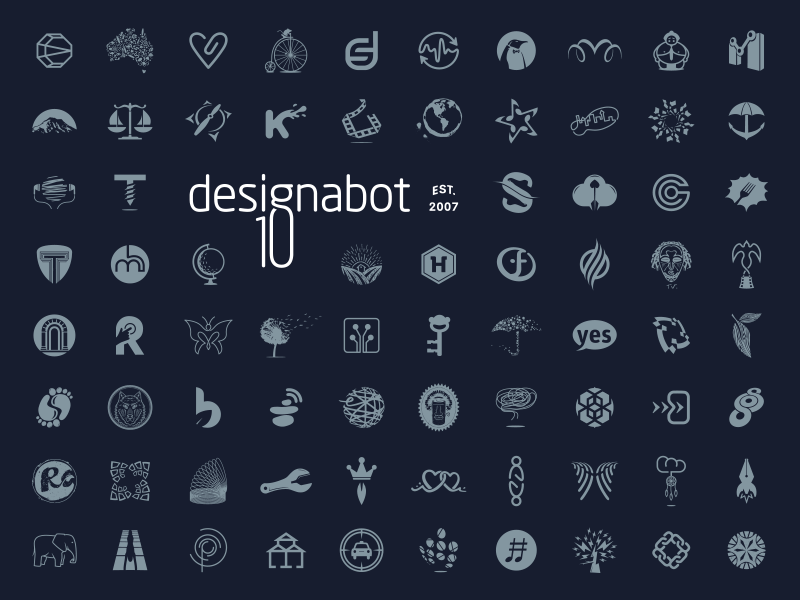 Designabot ~ 10 years graphics 10 business icon logo anniversary design