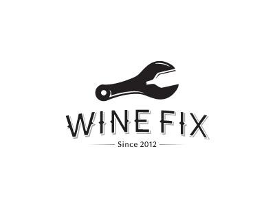 Wine Fix revision wine logo fix spanner layout black white