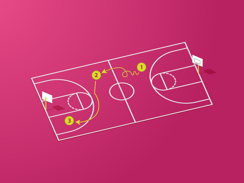 3 x Dribbble invites concept playbook basketball court pink 3 invites dribbble