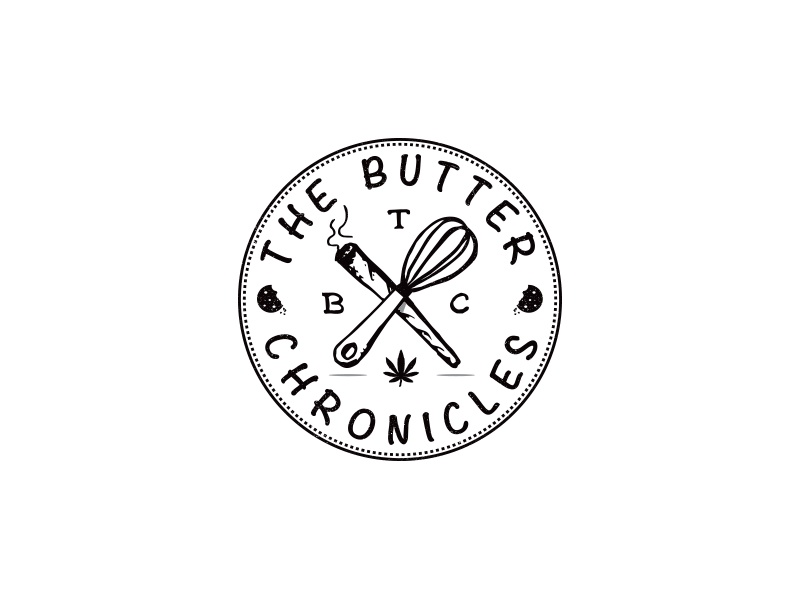 The Butter Chronicles joint spliff whisk medicinal stamp logo design edible cookie marijuana