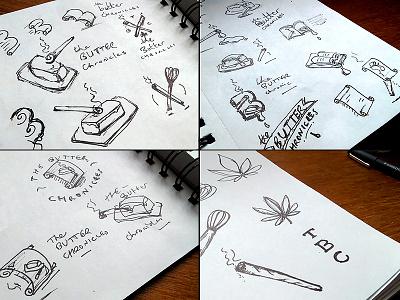 TBC Behind the scenes sketches sketch marijuana cookie edible design logo stamp medicinal whisk concept idea
