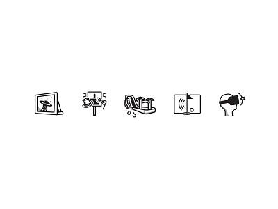 Icons line scalable design animate entertainment black icons icon