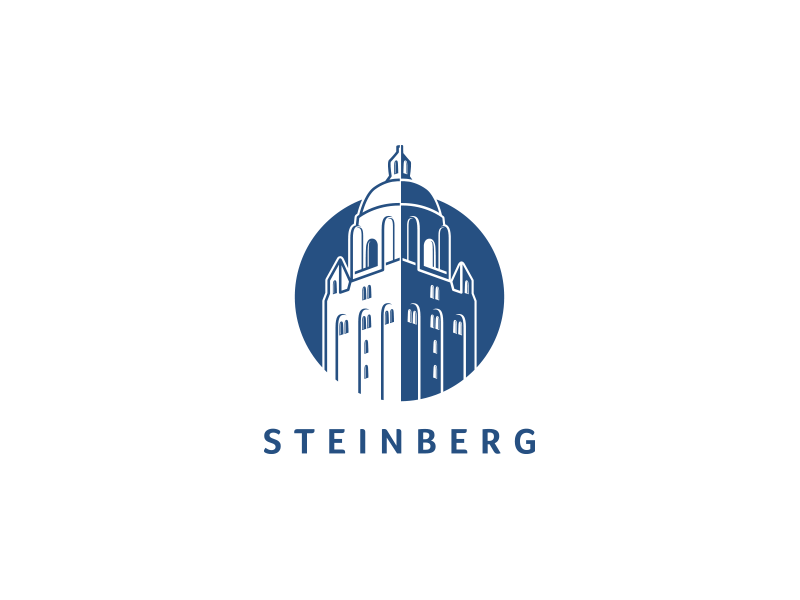 Steinberg Redesign graphic university college bold strength mark lineart logo tower blue brand redesign steinberg