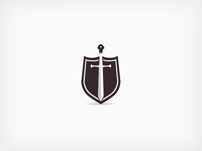 Sword & Shield symbol mark logo open graphic shadow design space shield sword