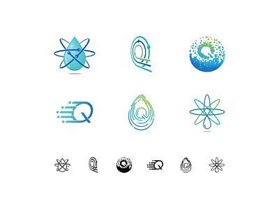 Quantum Hygiene Concepts q atom drop water service cleaning clean green blue logo idea concept hygiene quantum